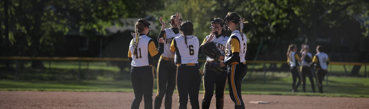 Northview Softball players meeting at mound