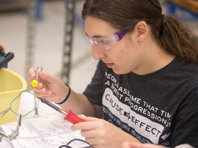 Southview student soldering